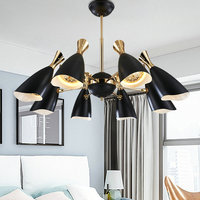 Modern Led Black White Gold Chandelier Lighting Fixture Lamp Flush Mount Metal Iron for Kitchen Living Room Bed Room