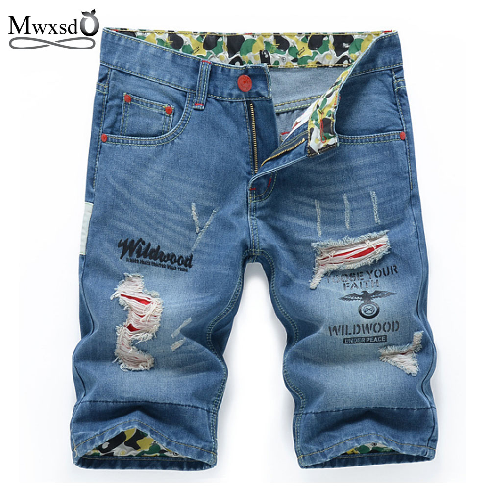 Mwxsd Brand fashion Mens cotton thin denim shorts male Casual jeans shorts Soft and comfortable knee length shorts Size 28-38