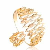 Dazz Cubic Zircon Bangle For Women Gold Color Dubai Wedding Beads Jewelry Sets Wide Ring Finger Bracelet Copper Bijoux Joias