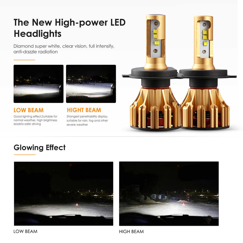 Oslamp H4 H7 H11 9005 9006 Car LED Headlight Bulbs Hi lo Beam SMD Chip 70W 7000LM 6500K 12v 24v Auto Led Headlamp Car Light Bulb