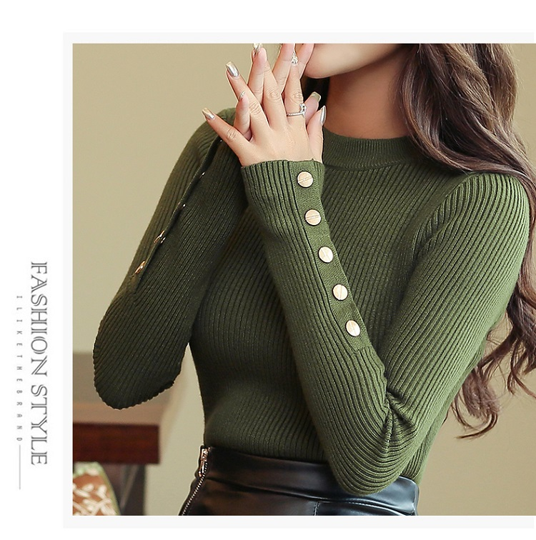 Fashion 19 New Spring Autumn Women Sweater Knitted Long Sleeve O-Neck Sexy Slim Office Lady Button Casual Sweaters Tops 6
