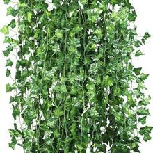 ขายร้อน 12 xประดิษฐ์พืชVINEปลอมดอกไม้Ivy Garlandสำหรับงานแต่งงานหน้าแรกBar Gardenตกแต่งผนัง