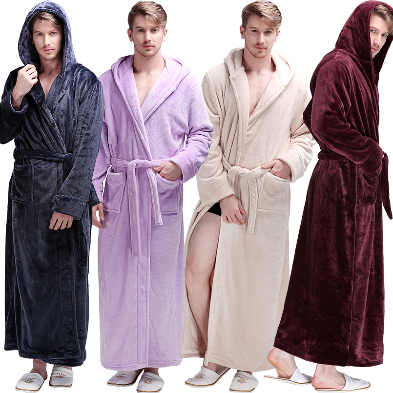 New Men Winter Extra Long Hooded Thick Flannel Warm Bath Robe Male Dressing Gown Thermal Bathrobe