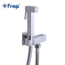 Frap 1 세트 솔리드 황동 단일 냉수 코너 밸브 비데 수도꼭지 기능 스퀘어 핸드 샤워 헤드 탭 크레인 90도 스위치