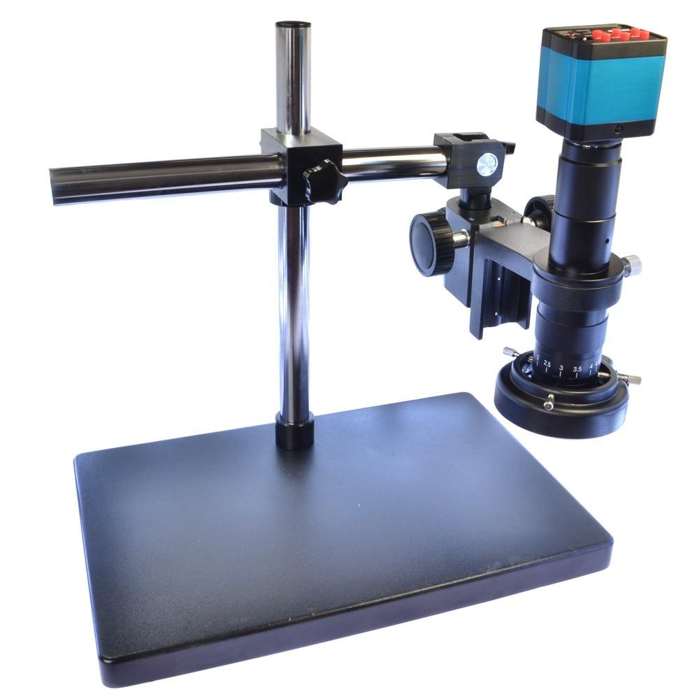 14MP HDMI HD USB Digital Industry Video Microscope Camera Set Big Boom Stand Universal bracket 180X