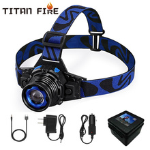 Waterproof LED Headlamp 10000Lums Built-in Battery Flashlight Rechargeable Headlight Q5 Rotary Zoom 3 Modes USB Charging Fishing