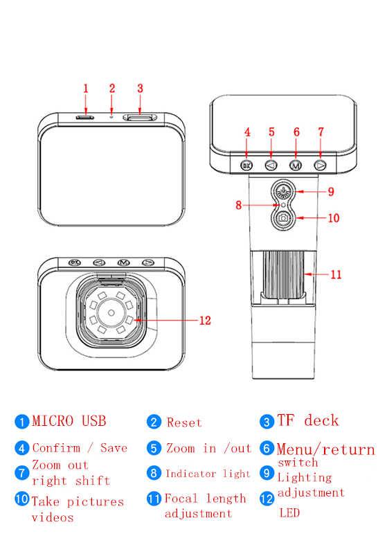 Microscope électronique portatif de capteur d'image de VGA CMOS de 8 LED de Microscope électronique d'usb 1000x avec l'écran pour la réparation de carte mère de carte Pcb