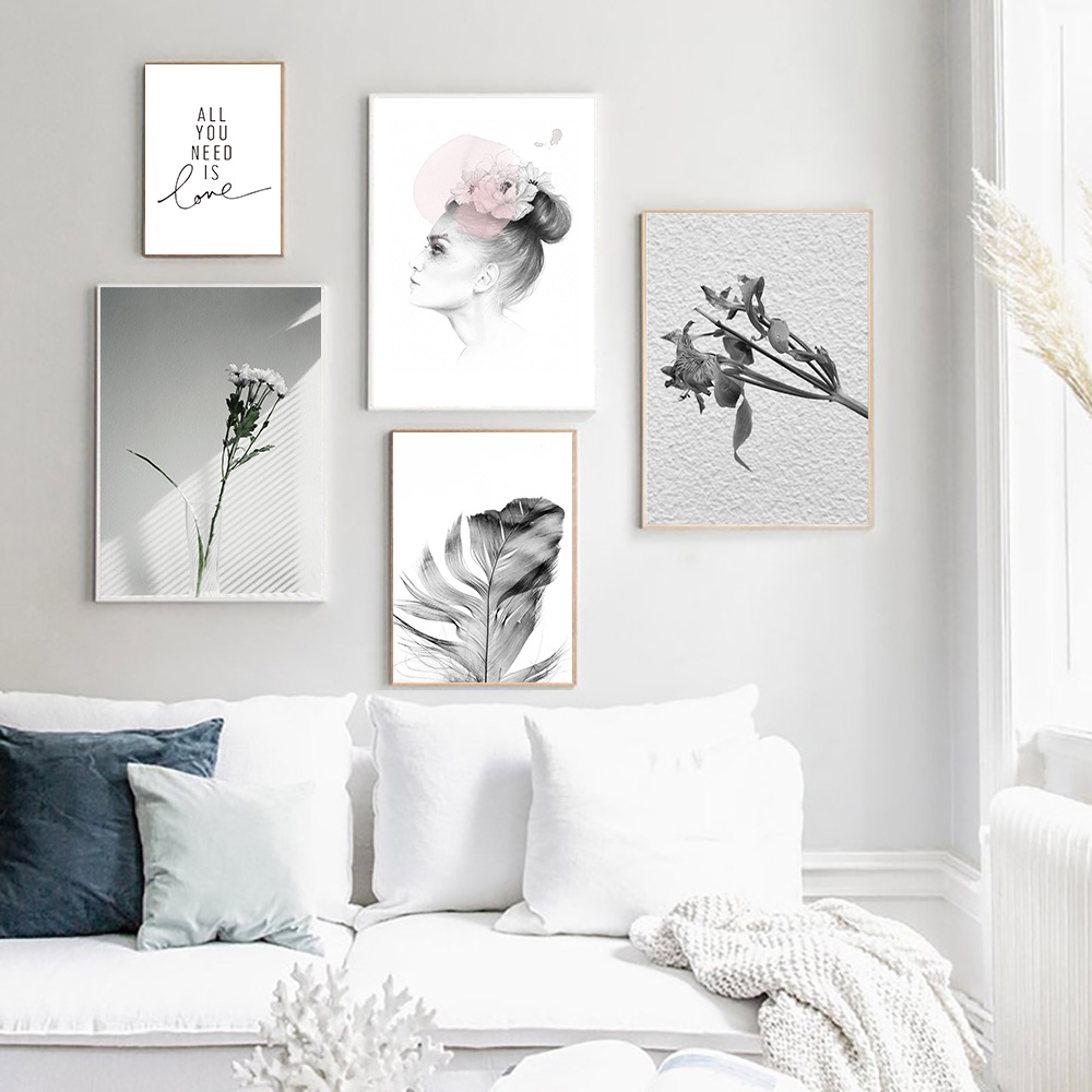 Nordic Wall Art Modern Canvas Prints Flowers Posters Feather Painting Inspirational Quotes Paintings Unframed