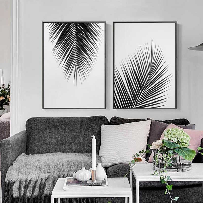 Nordic Minimalist Black White Tree Leaves Canvas Painting Posters Prints Home Living Room Plant Wall Art Decorative Picture