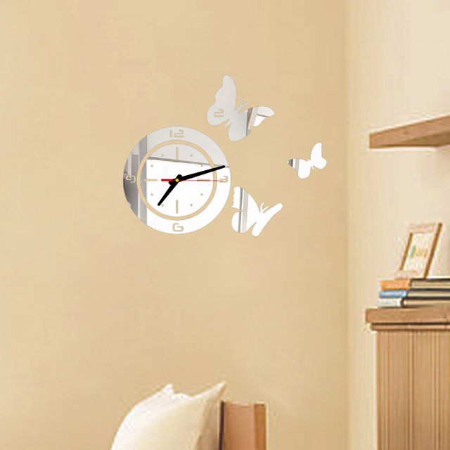 New hot mirror sticker 3d acrylic wall clock home decor modern large ...