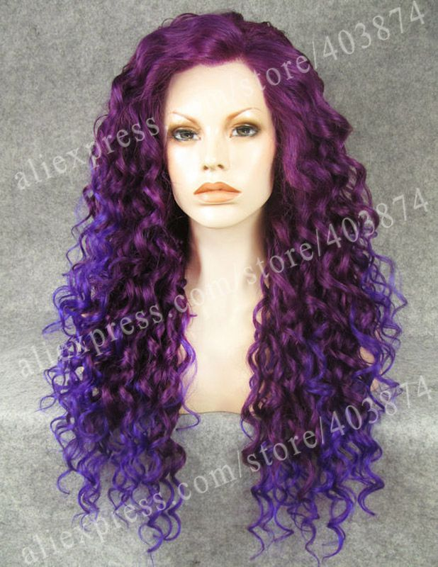 ФОТО Top Quality Wig Synthetic Ombre Purple Two Tone Drag Queens Synthetic Lace Front Wig
