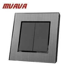 MVAVA 2 банды 2 способ роскошный ЕС Великобритания стандарт Серебряный сатин Металл 2 банды 2 позиционный переключатель двойная нажимная кнопка управления выключатель света