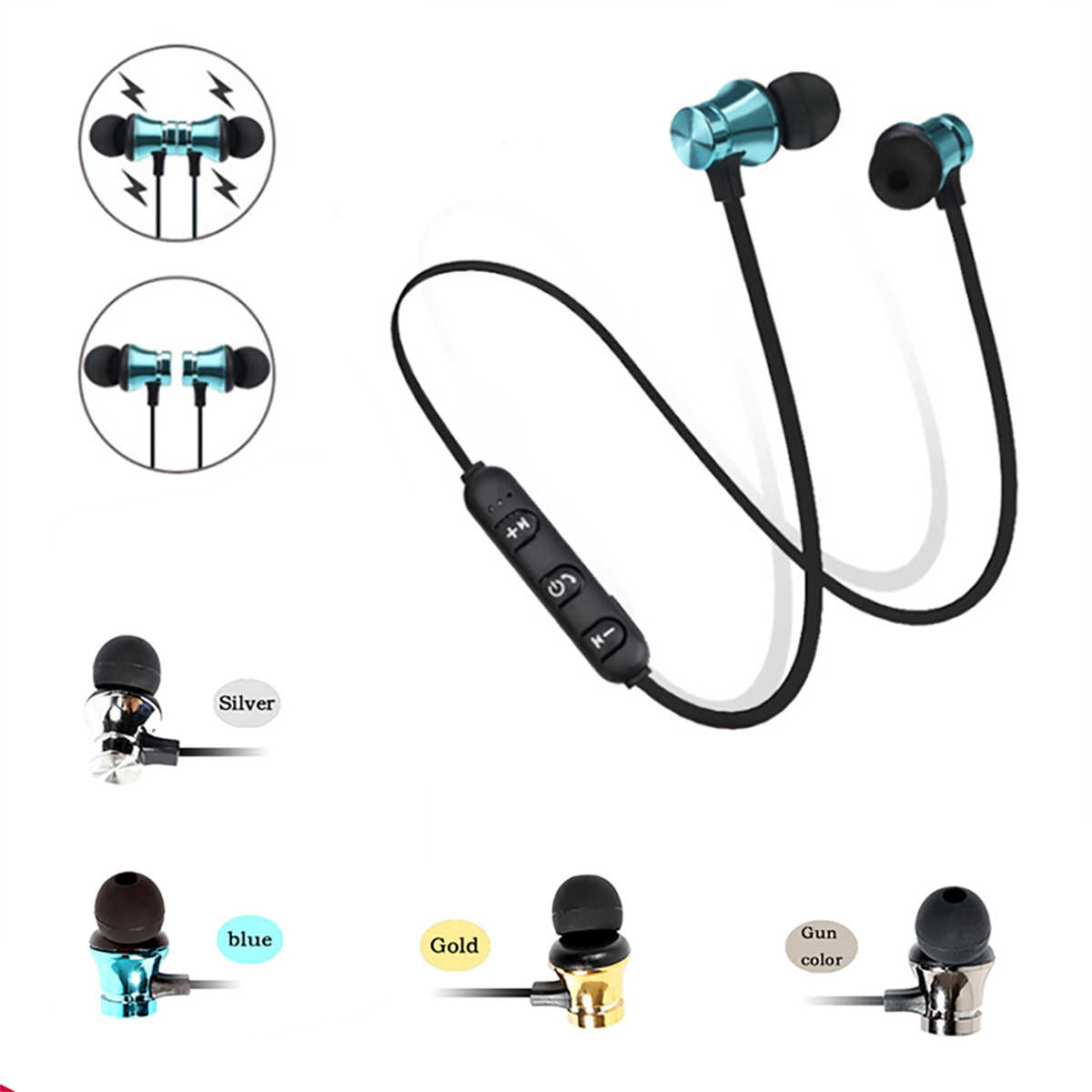 Bluetooth Earphone Olahraga Handsfree Headphone Nirkabel Earphone Magnetik Headset dengan Mikrofon untuk Ponsel Xiaomi