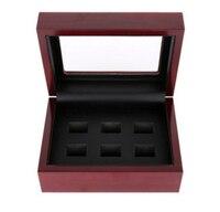 Hurtownie Solidna Drewniane Pudełka 6 Otwory Mistrzostwa Pierścionki Piękny pierścionek Pierścionki Pozycji drewniane pudełka Z ekskluzywny wygląd