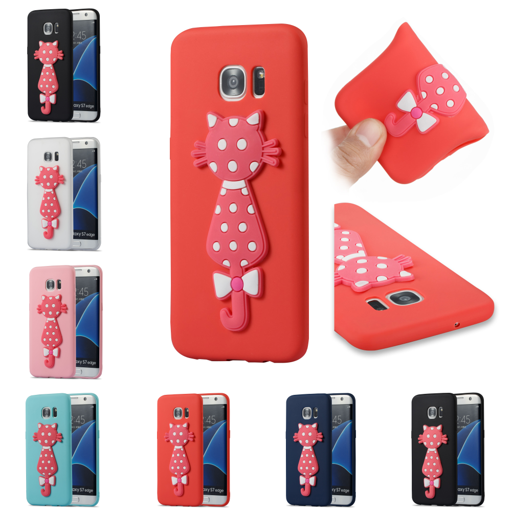 Cute Silicone 3D Cat Cartoon Bag Phone Case Cubierta Kryty Shell Cover Cove For Samsung Sumsung Samsug Galaxy Galax S7 Edge G935
