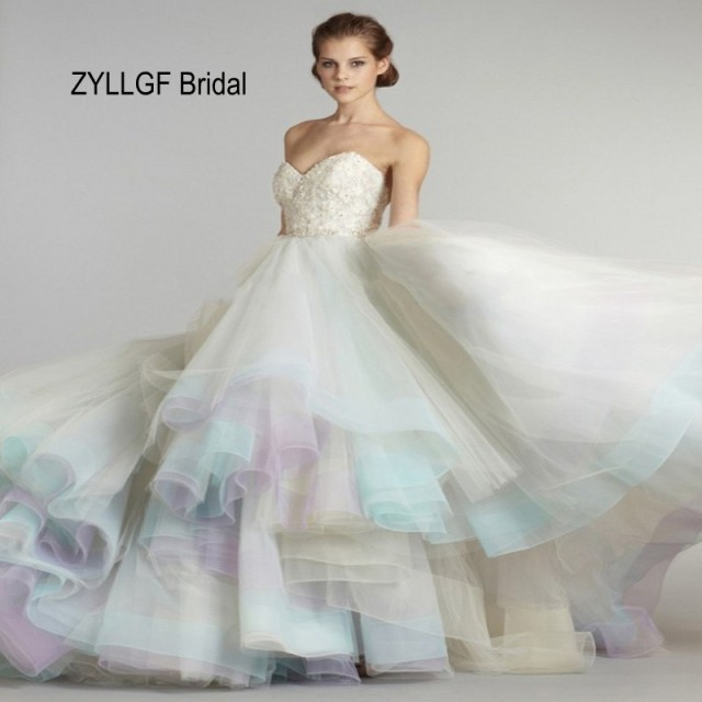 Multi Color Wedding Dress | Zyllgf Bridal Elegant Ball Gown Multi Color Wedding Dresses