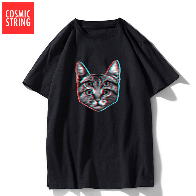 COSMIC STRING 100% Cotton Summer Loose Cat Print Men T Shirt Cool Funny O-neck Men Tshirt Oversized Men T Shirt Tops Tee Shirts