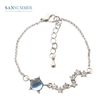 New Hot Fashion Star Moon Shiny Cubic Zirconia Blue Glass Luxury Glamour Exquisite Elegant Romantic Bracelet For Woman Jewelry