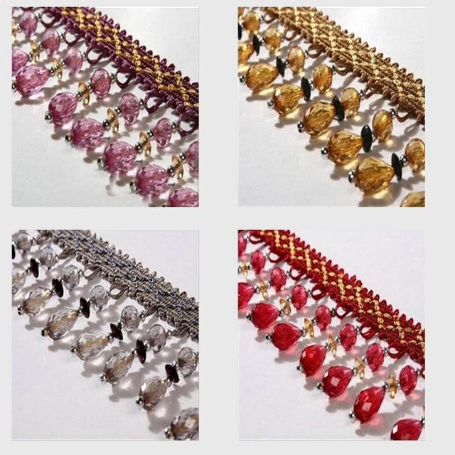 12Yard/Lot 12Colors Curtain Lace Accessories Tassel Fringe Trim DIY Pumpkin Beads Crystal Bead Drapery Sewing CA117