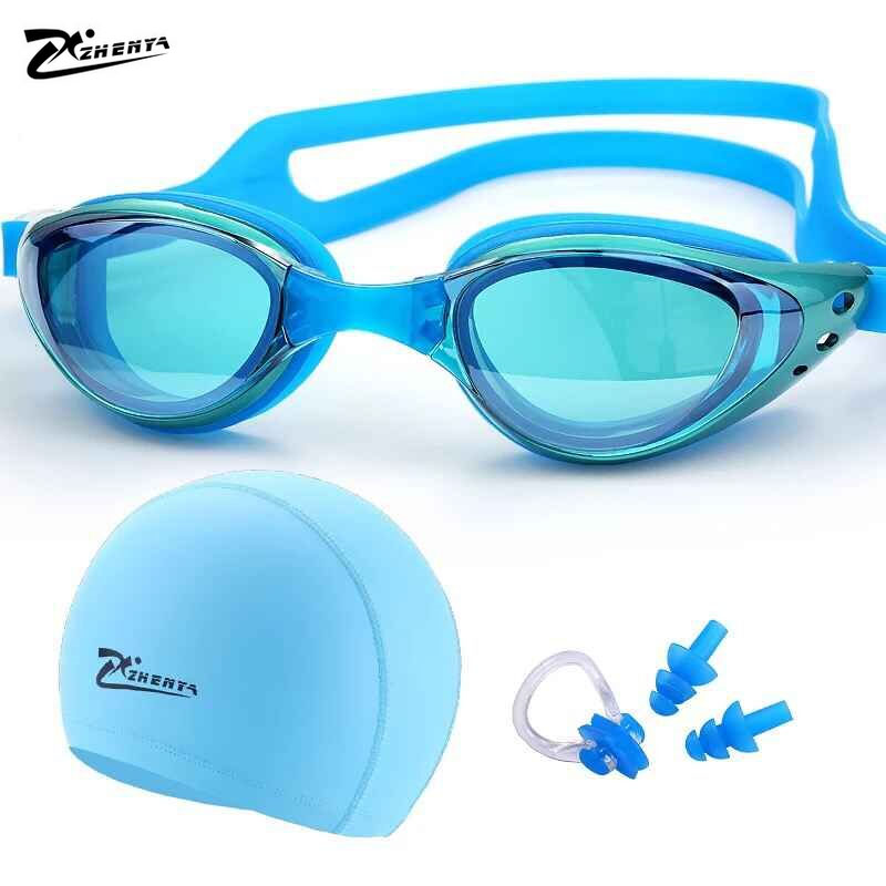 Myopia Swimming goggles professional Silicon Waterproof hat piscina natacion Swimming caps earplug arena glasses Swim eyewear цена