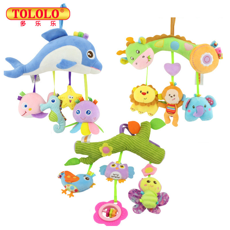 TOLOLO 2017 New Infant Toys For Baby Crib & Stroller Plush Playing Toy Car Lathe Hanging Baby Rattles Mobile 0-12 Months