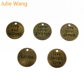 Julie Wang 10PCS Alloy Mixed Inspiration Aphorism Antique Bronze Charms For Neckalce Pendant Findings Jewelry Making Accessories image