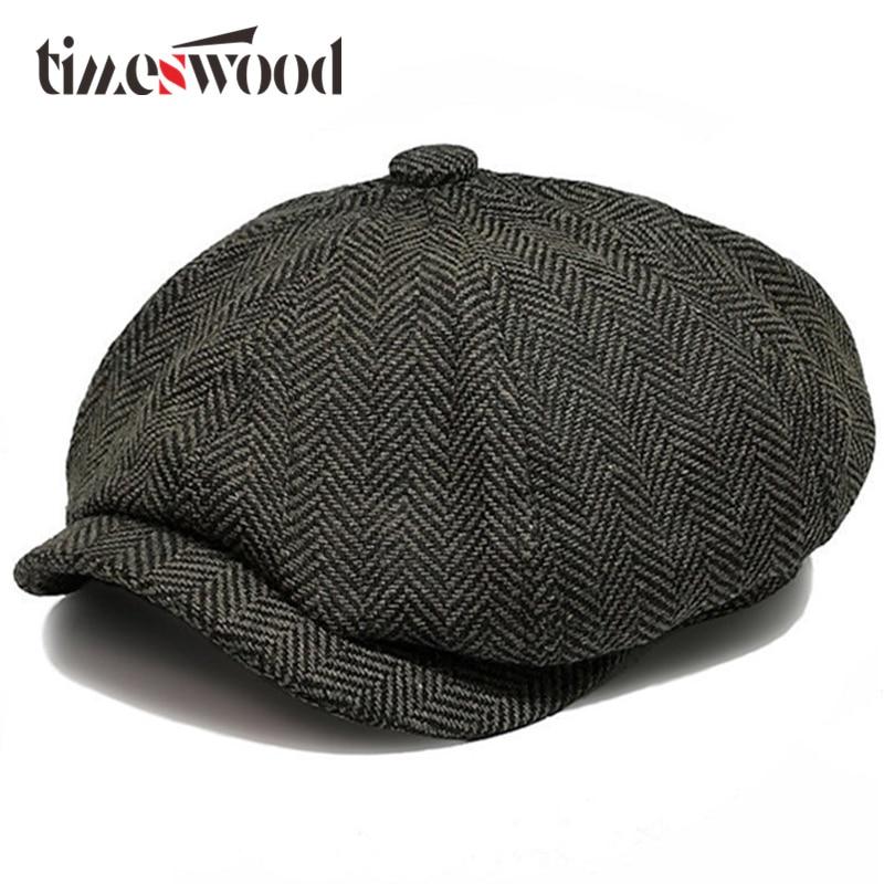 2018 Ny Hot Fashion Gentleman Octagonal Cap Newsboy Beret Hat Höst - Kläder tillbehör