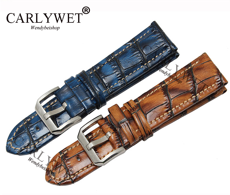 CARLYWET 20 22mm Handmade Leather Brown Blue VINTAGE Replacement Wrist Watch Band Strap Belt Bracelet with Silver Brush Buckle купить