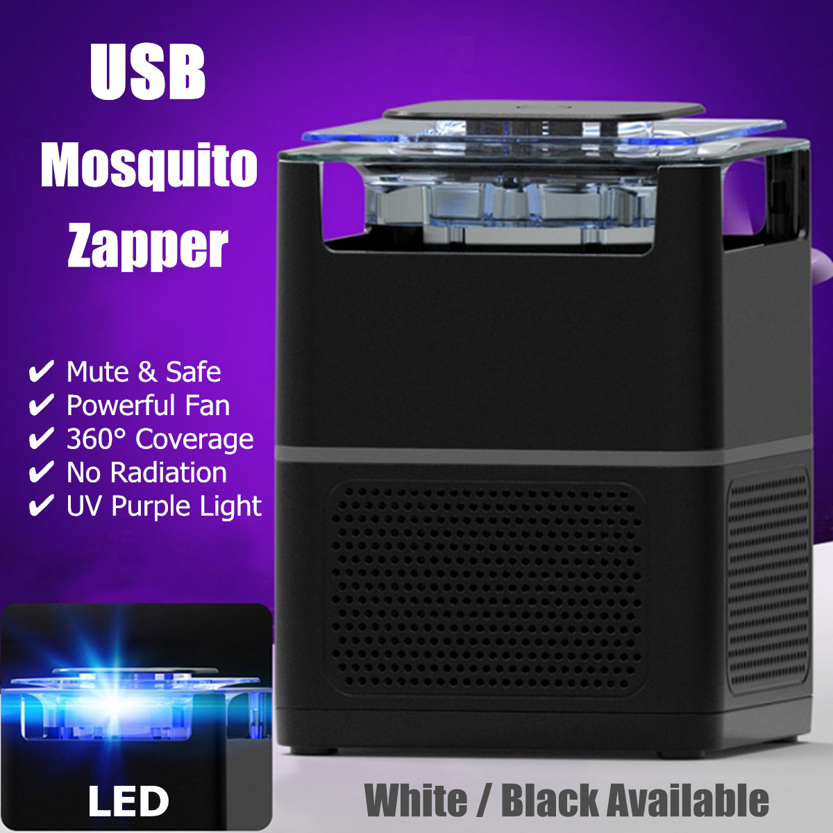 ABS LED Electric Insect Killer UV Mosquitoes Fly Bug Zapper Catcher USB Powered Home Garden Pest Control Supplies White/Black
