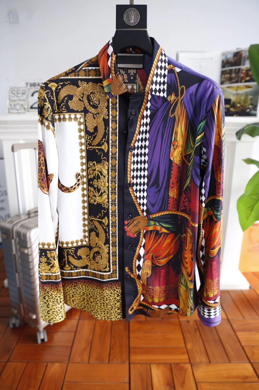 Модные Для мужчин рубашки 2018 взлетно посадочной полосы Элитный бренд Европейский дизайн вечерние стиль Мужская одежда wk20241