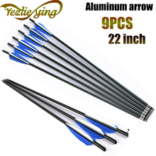 Crossbow Hunting 22Inch Bolt Aluminum Arrow for Crossbow, Blue and White Feathers, Replaceable Arrows Bow For Shooting