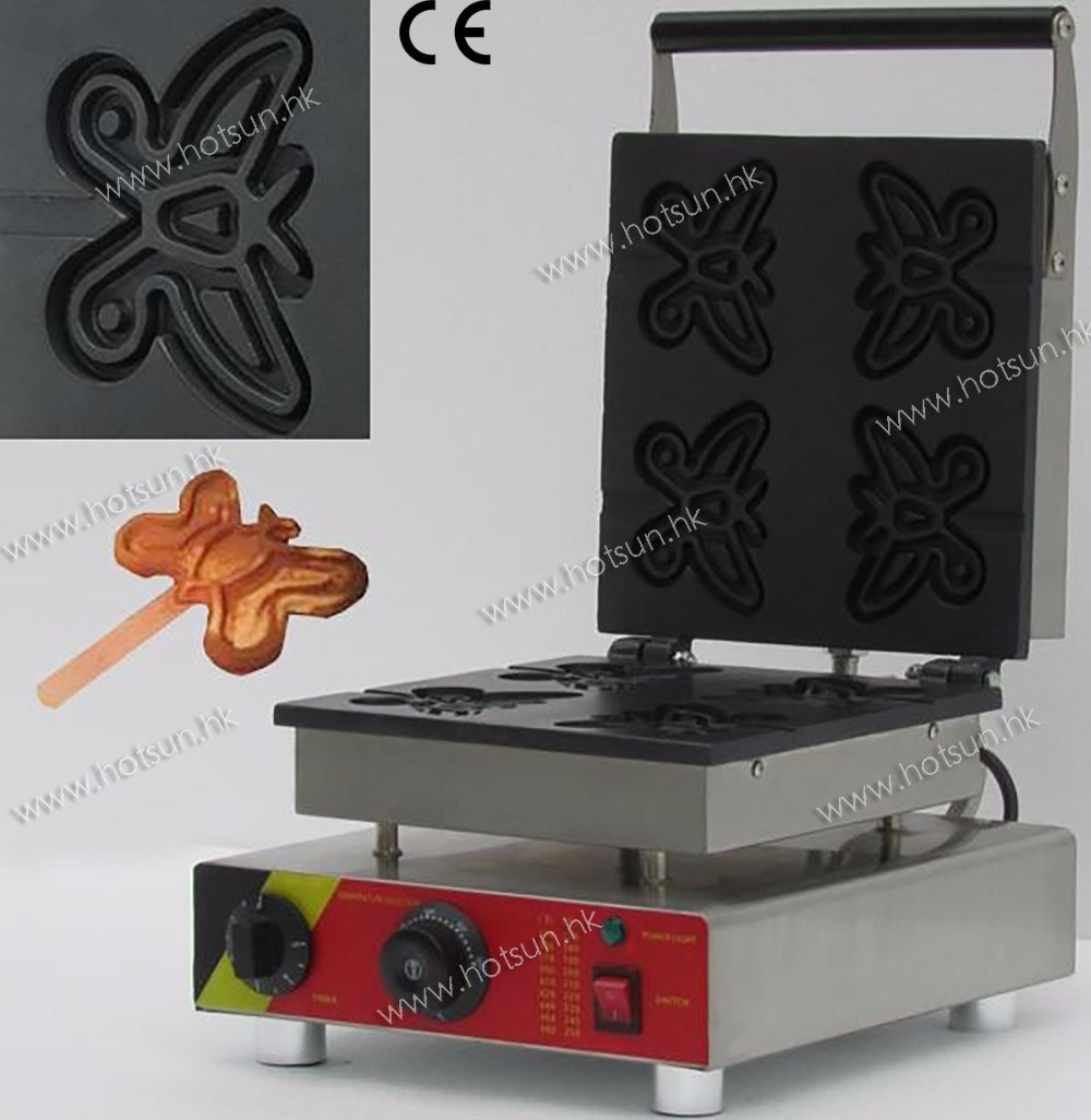 Commercial Electric 110V 220V Nonstick Butterfly Lolly Waffle Stick Maker Iron Machine Baker 1pc np 511 110v 220v electric commercial nonstick heart shape lolly waffle stick maker iron machine baker stainless steel 1 5kw
