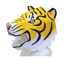 DIY 3D Paper Card Model Tiger Building Head Animal Toy Assemble Hand Work Puzzle Game DIY for Kids Costume Party Accessory(China)