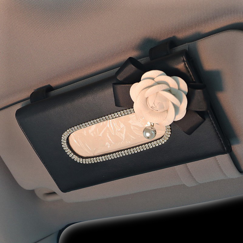 Cute Flower Crystal Tissue Box Paper Holder For Car Sun Visor Leather Hanging Auto Sunvisor Tissue Cases Car Accessories
