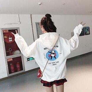 Winter Warm Pullover Hoodies Fleece Korean Hoodie Ulzzang Loose Harajuku Hoodie Panda Printed Loong Sleeved Couple Hoodies