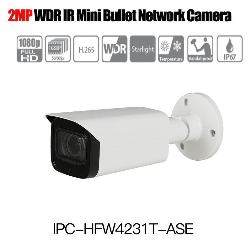 Dahua H.265 1080P IP Camera IPC-HFW4231T-ASE Starlight WDR IR Mini Bullet Network Camera with Audio IP67 IK10 outdoor ip camera free shipping dahua cctv camera 4k 8mp wdr ir mini bullet network camera ip67 with poe without logo ipc hfw4831e se