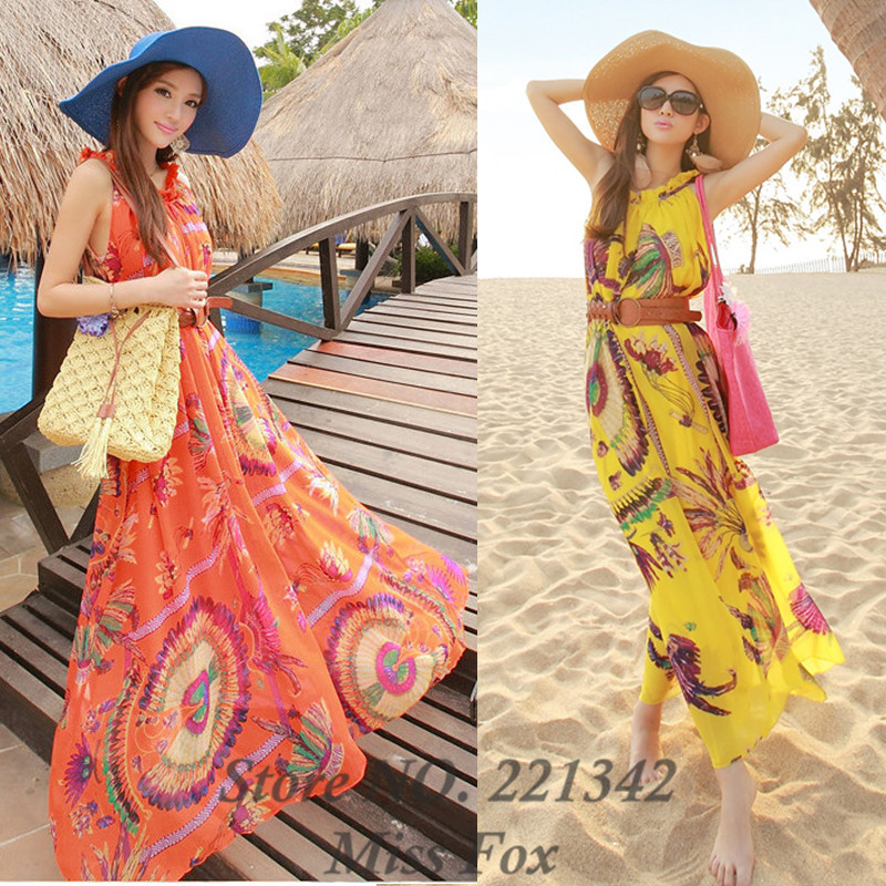 a949f06b5b59 India Style Peacock 2013 Women Summer Printed Chiffon Beach Dress Bohemian  Maxi Long Off the Shoulder Plus Size Dresses