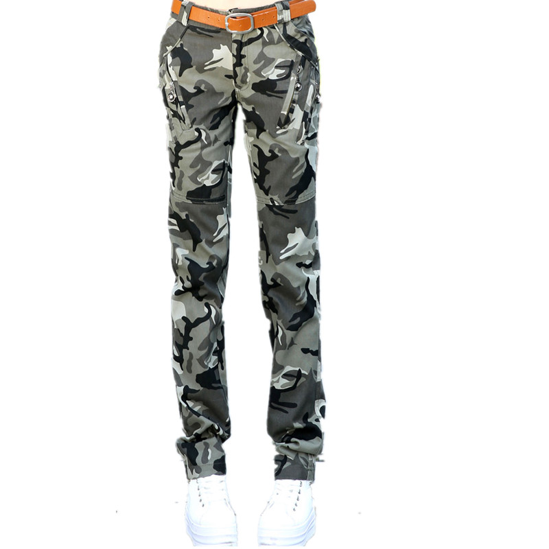 1e854a5d5b433 Military Camouflage Pants Women Baggy Cargo Pants For Girls Army Green  Stretch Cotton Zipper With Pockets Pants Female