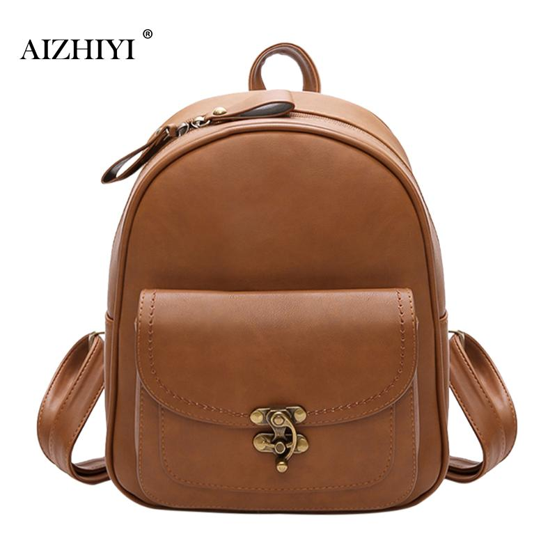 Women Simple Vintage Zipper Casual Backpacks for Teenage Girls PU Leather Shoulder Bag Female Schoolbags Preppy Style Fashion simple preppy style backpack women pu leather backpacks for teenage girls school bags fashion vintage solid shoulder bag black
