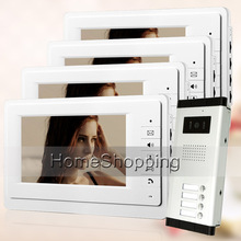 Promo offer FREE SHIPPING New 7″ Video Intercom Door Phone System 4 White Monitors + 1 Doorbell Camera for 4 Household Apartment Wholesale
