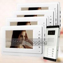 """ENVÍO de la Nueva 7 """"Sistema de Videoportero De Intercomunicación 4 Monitores + 1 Cámara para 4 Hogares Timbre Apartamento Blanco Al Por Mayor"""