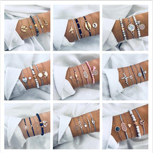 Ahmed 15 стильные богемные трендовые браслеты наборы для женщин модные простые оболочки карта сердце животные пальмовые Бусы Браслеты с кисточкой ювелирные изделия