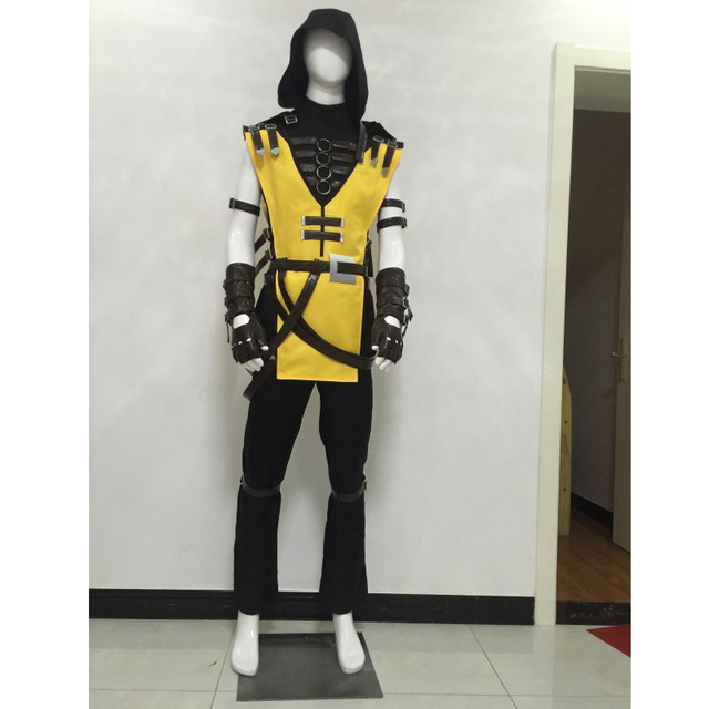 mortal kombat scorpion hanzo hasashi cosplay costume outfit halloween carnival movie party costume