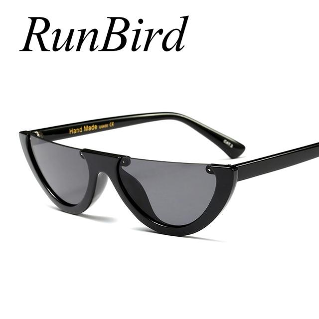 ee0ff976f837c RunBird Metade Vintage Frame Óculos De Sol Das Mulheres Gato Olho Pequeno  Tamanho Preto Colorido Transparente