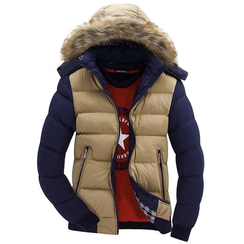 ФОТО Hot Sale Men's warm winter plus velvet coats thick cotton solid color jacket men's casual Slim Fit Jacket coat