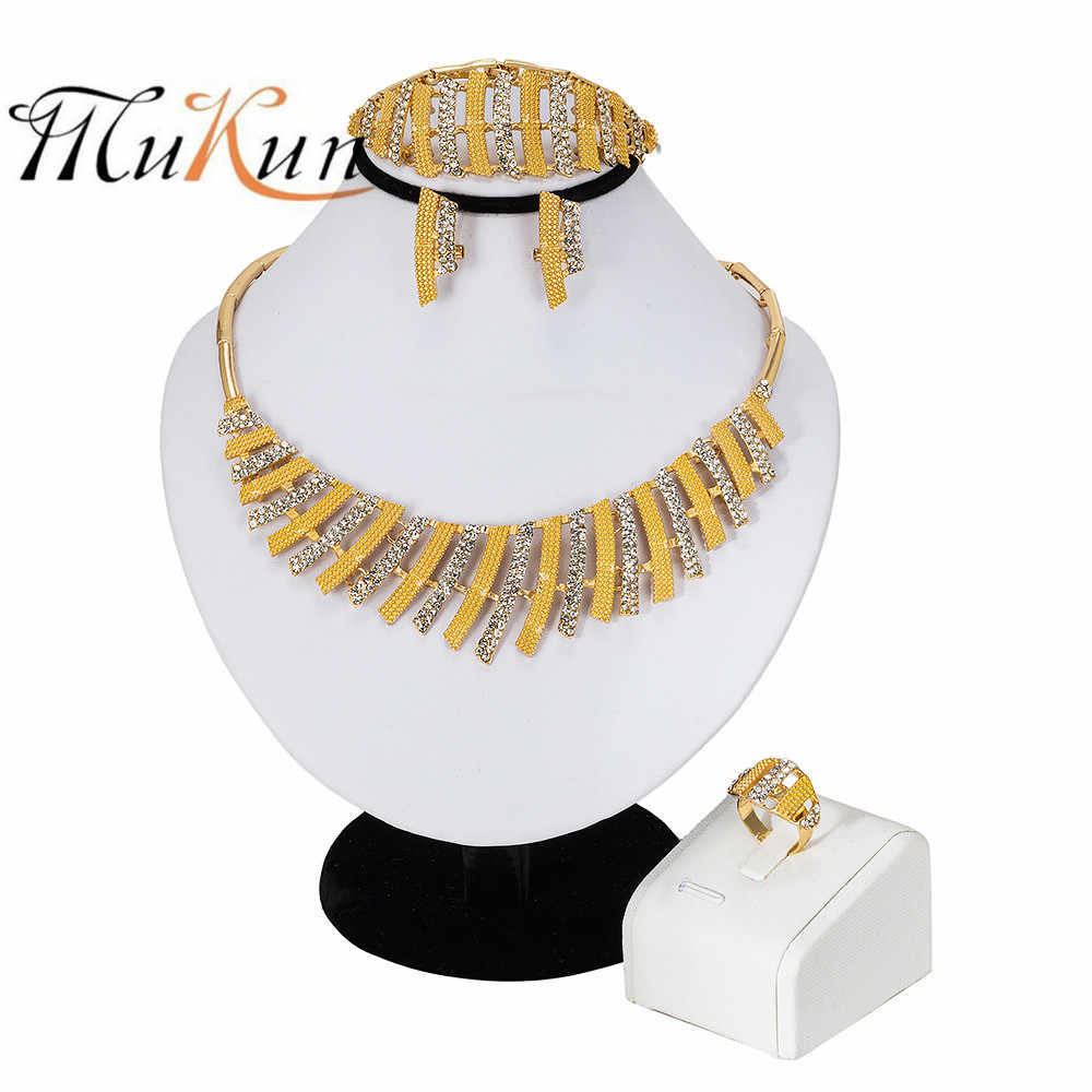 MUKUN Dubai Gold Jewelry Sets Nigerian Wedding African Beads Crystal Bridal Jewellery Set Rhinestone Ethiopian Jewelry parure