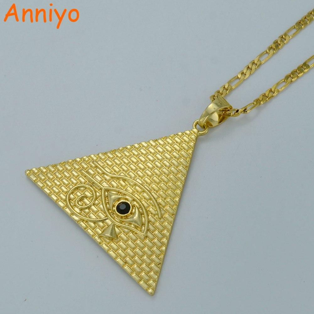 Anniyo Pyramide Égyptienne Colliers pour Femmes, Or Couleur Egyptiens Oeil De Horus Bijoux Egypte Eye Amulette/Hiéroglyphes #019306