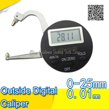 Best price Free Shipping + 0.05 / -0.05 SHAHE mm / inch Outside Digital Caliper Gage Date hold thickness gauge portable measuring tool