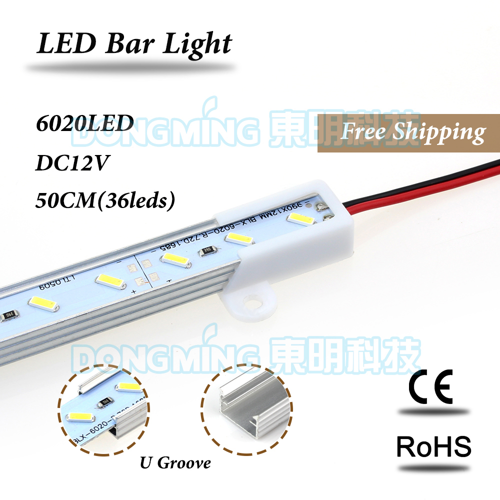 LED Bar Light 50cm 36leds DC 12V led luces strip smd 6020 for kitchen wardrobe With U/V Aluminum Profile white/warm white