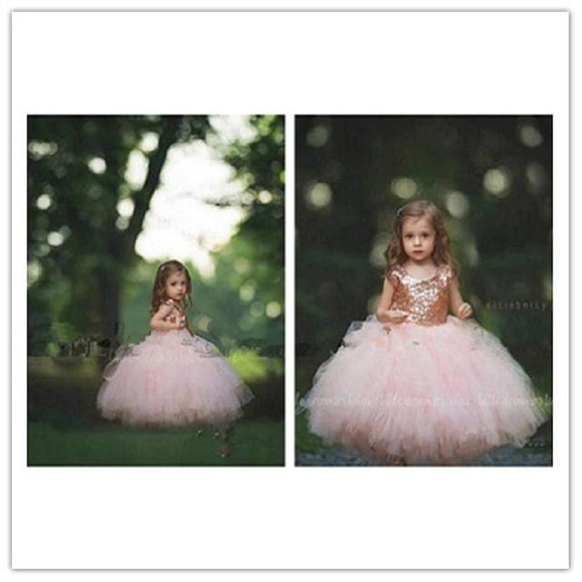 c44056d9ab4 Sparky Rose Gold Sequins Flower Girls Dresses 2017 Blush Tulle Kids Ball  Gown Cap Sleeves Child Formal Wedding Party Dress Puffy